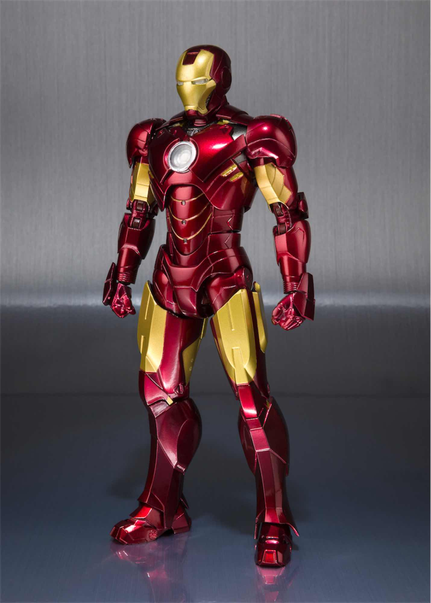 IRON MAN MK IV + SET HALL DE ARMADURAS FIGURA 15 CM MARVEL IRON MAN S.H. FIGUARTS