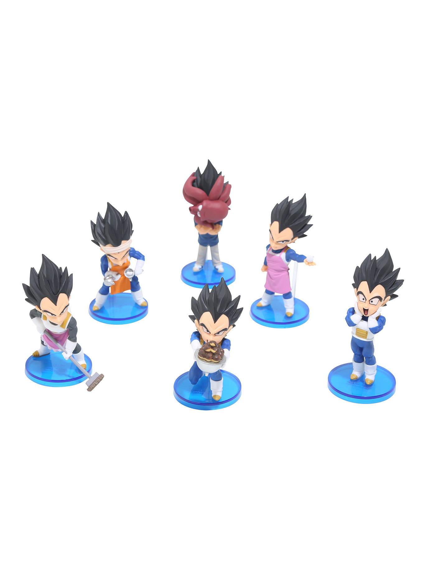 PRINCE VEGETA SET DISPLAY 6  FIGURAS 4,5 CM DRAGON BALL Z WCF