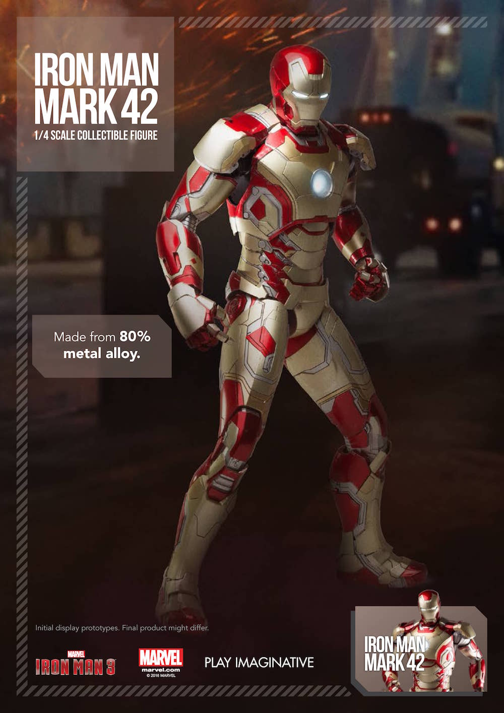 IRON MAN MK42 FIGURA METAL 45 CM MARVEL IRON MAN 1/4 SCALE COLLECTIBLE FIGURE