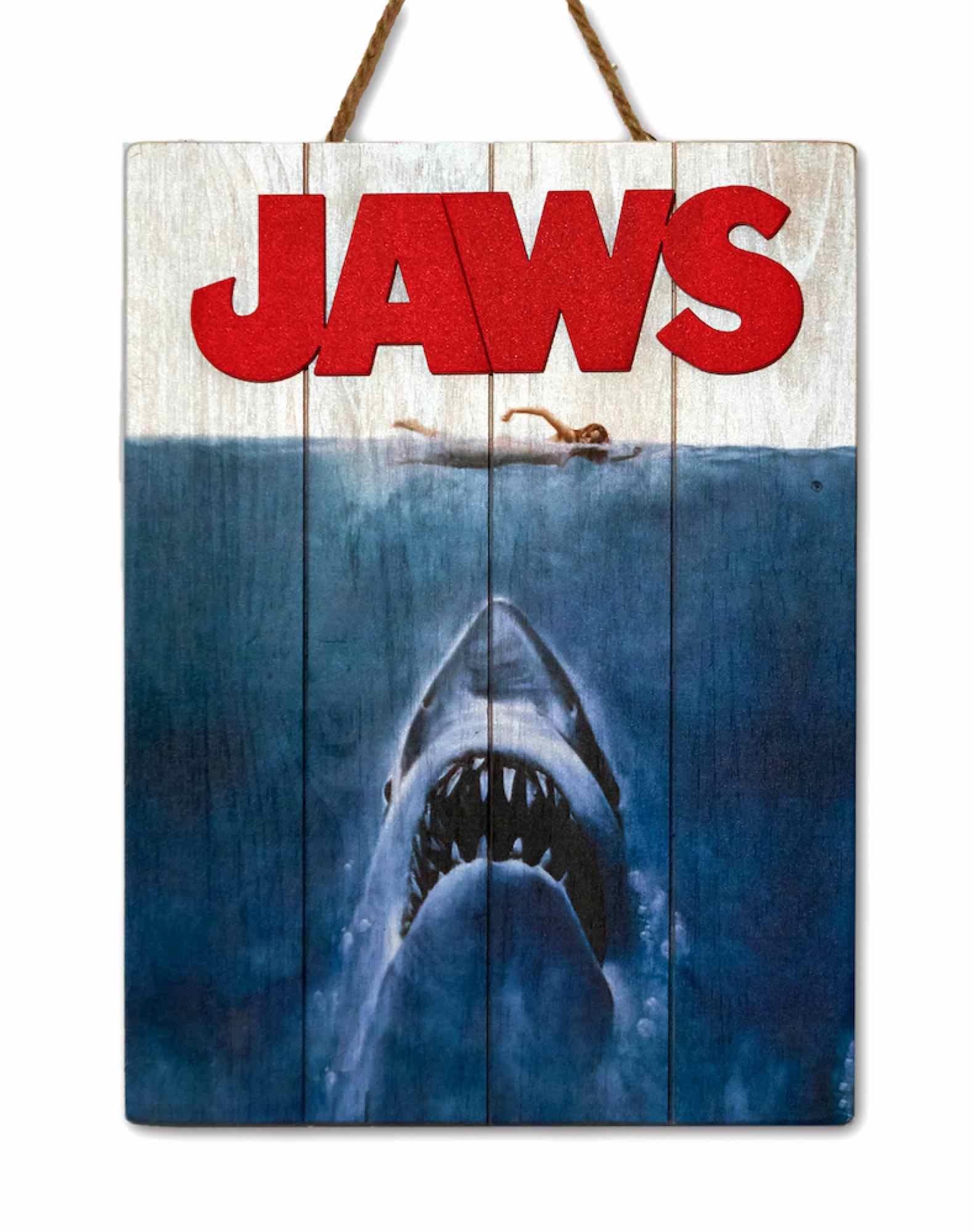 JAWS 1975 CARTEL MADERA 30 X 40 CM WOODART 3D PRINT