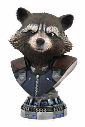 ROCKET RACCOON BUSTO RESINA 20 CM 1/2 SCALE LEGENDS IN 3D MOVIE AVENGERS ENDGAME