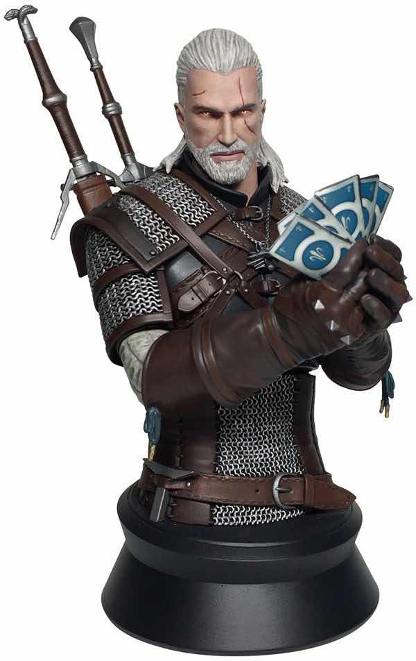 GERALT DE RIVIA PLAYING GWENT BUSTO 21,60 CM THE WITCHER 3