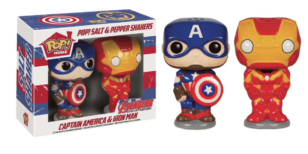PACK CAPITAN AMERICA + IRON MAN SET SAL Y PIMIENTA POP HOMEWARES MARVEL