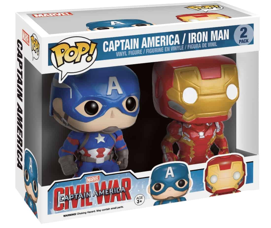 PACK CAPITAN AMERICA + IRON MAN FIGURA 15 CM VINYL POP MARVEL