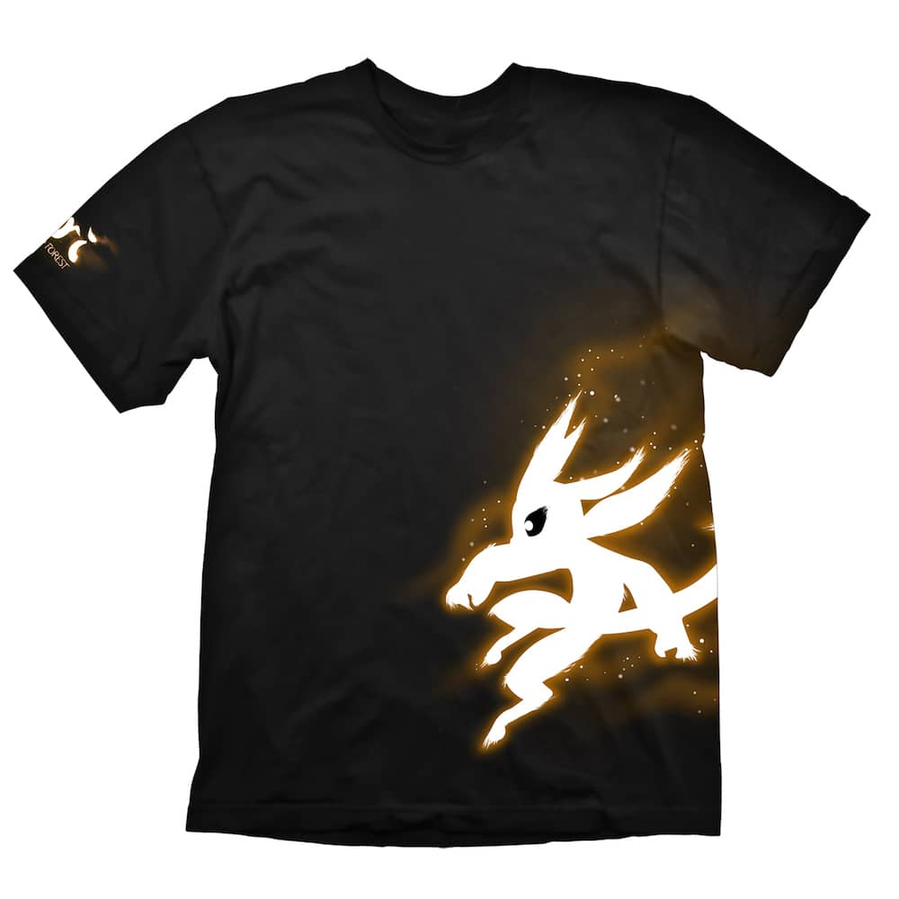 BRILLO NARANJA CAMISETA NEGRA CHICO TALLA L ORI AND THE BLIND FOREST