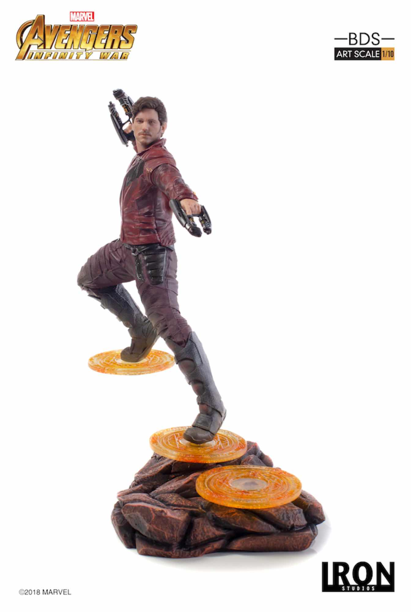 STAR-LORD FIG 23 CM AVENGERS INFINITY WAR IRON STUDIOS BDS 1/10 ART SCALE