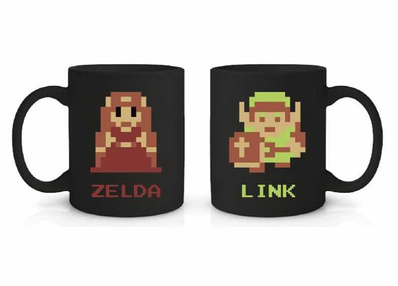 LINK & ZELDA PIXELADO TAZA THE LEGEND OF ZELDA