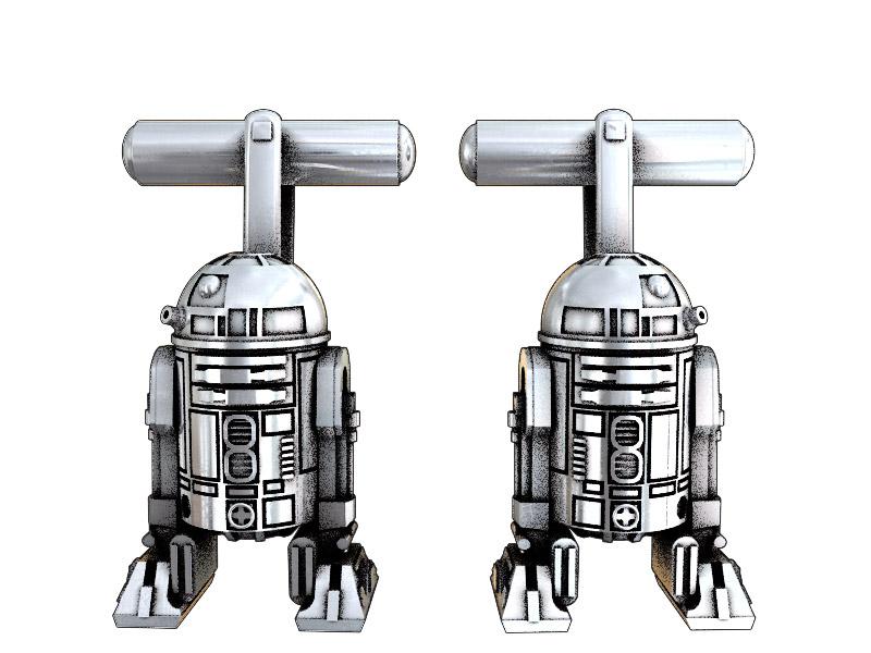 R2-D2 BAÑO PLATA GEMELOS PARA CAMISA STAR WARS