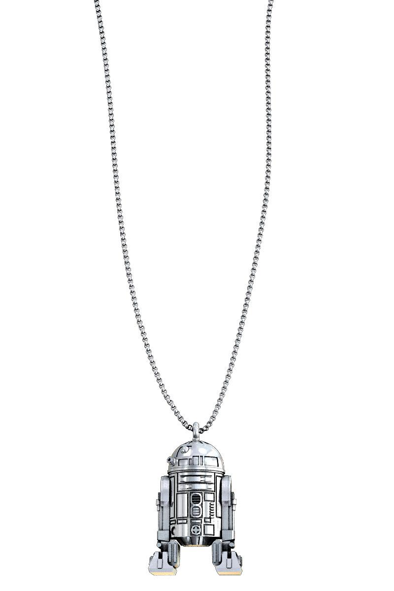 R2-D2 BAÑO PLATA COLGANTE CADENA