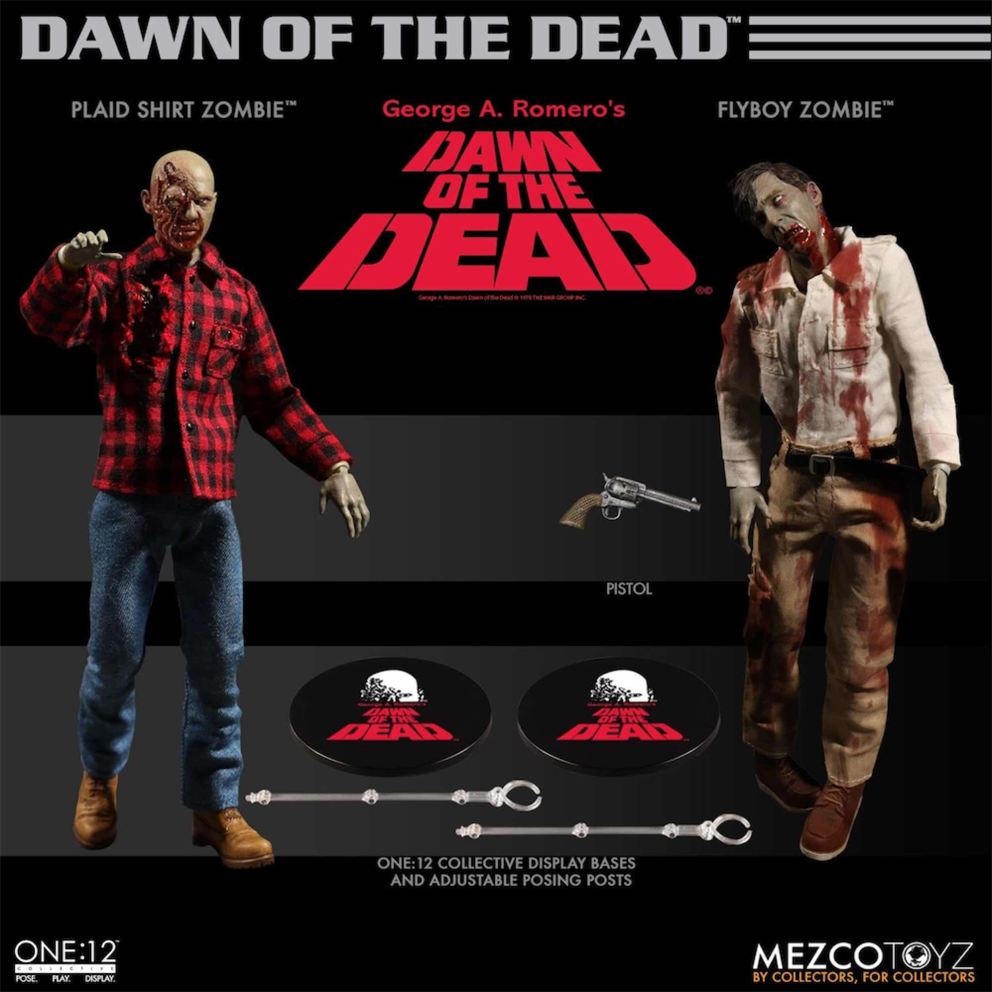 FLYBOY & PLAID SHIRT ZOMBIE SET 2 FIGURAS 17 CM DAWN OF THE DEAD THE ONE:12 COLLECTIVE