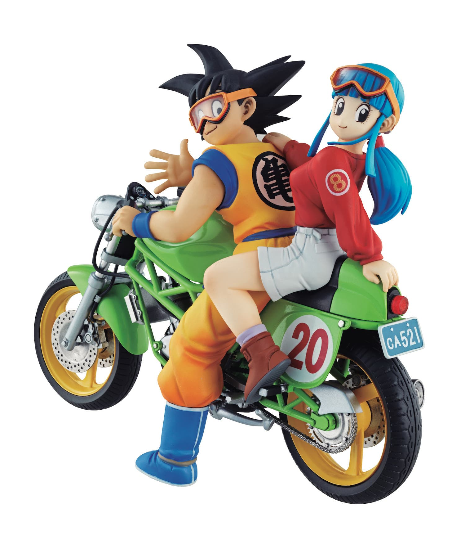 SON GOKU & CHICHI EN MOTO 2 FIGURAS 15 CM DRAGON BALL Z DESKTOP REAL MCCOY
