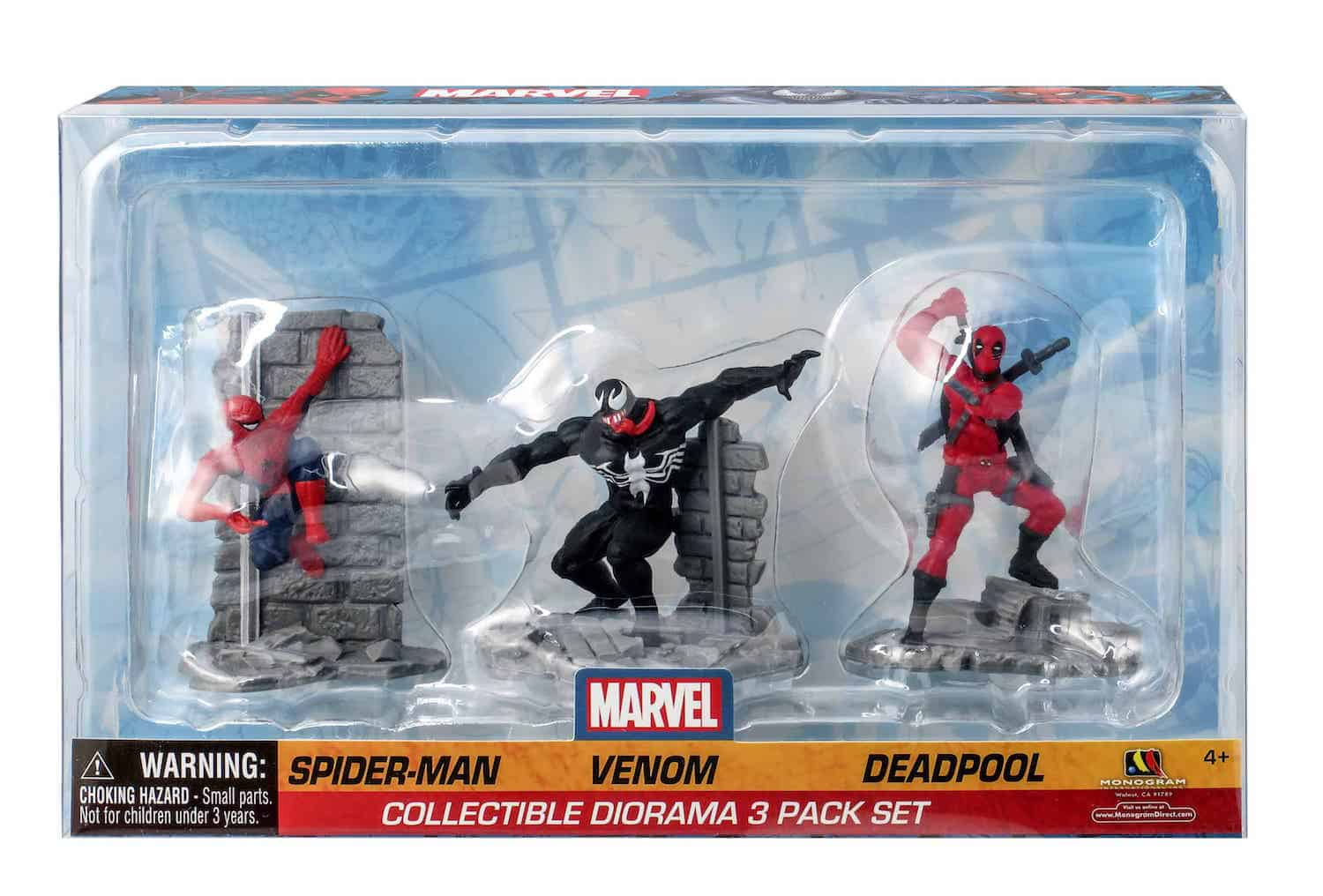 SPIDERMAN VENENO MASACRE SET 3 FIGURAS 7 CM MARVEL COLLECTIBLE DIORAMA