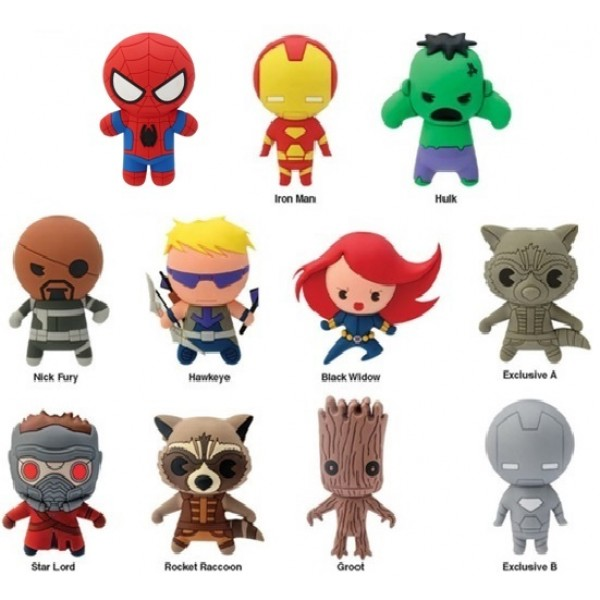 DISPLAY 24 SOBRES SORPRESA MINI FIGURA LLAVERO 4 CM MARVEL SERIE 1