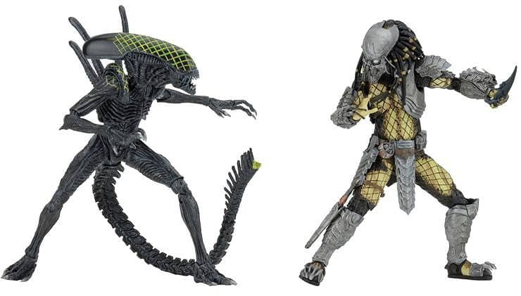 BATTLE DAMAGED CELTIC VS BATTLE DAMAGED GRID ALIEN SET CAJA 2 FIG 18 CM ALIEN VS PREDATOR