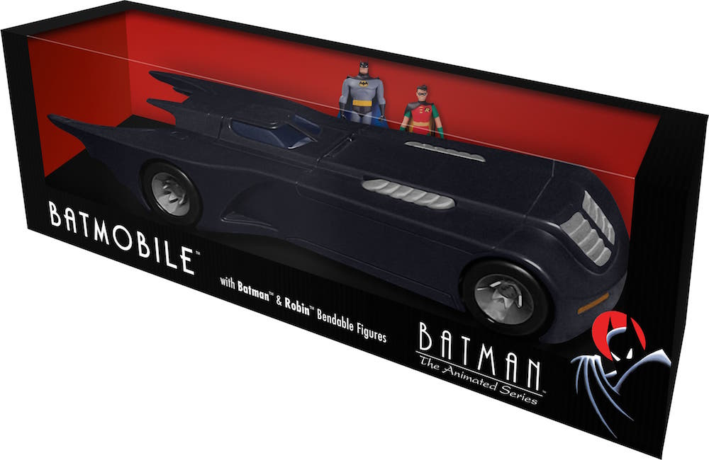 BATMOVIL CON BATMAN Y ROBIN FIGURA FLEXIBLE THE ANIMATED SERIES UNIVERSO DC