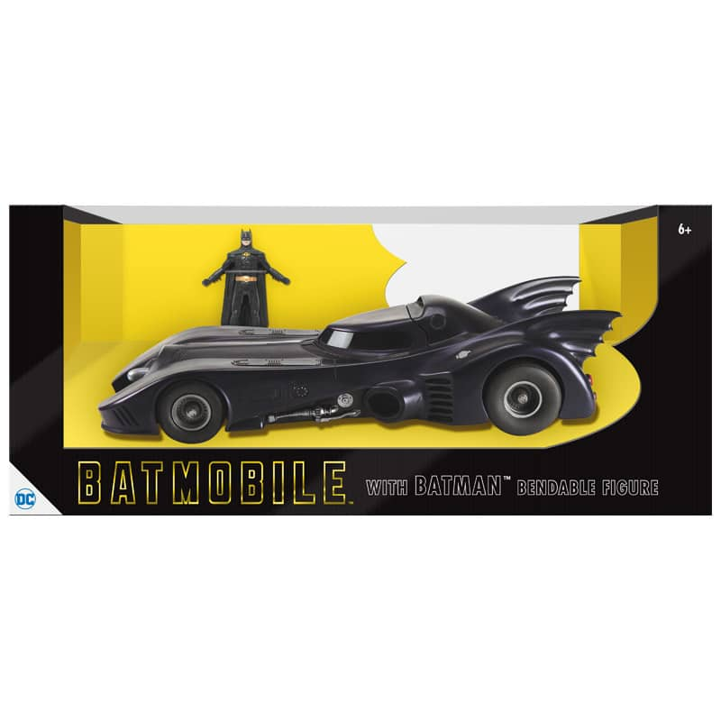 BATMOVIL CON MICHAEL KEATON BATMAN FIGURA FLEXIBLE 8 CM BATMAN 1989 UNIVERSO DC