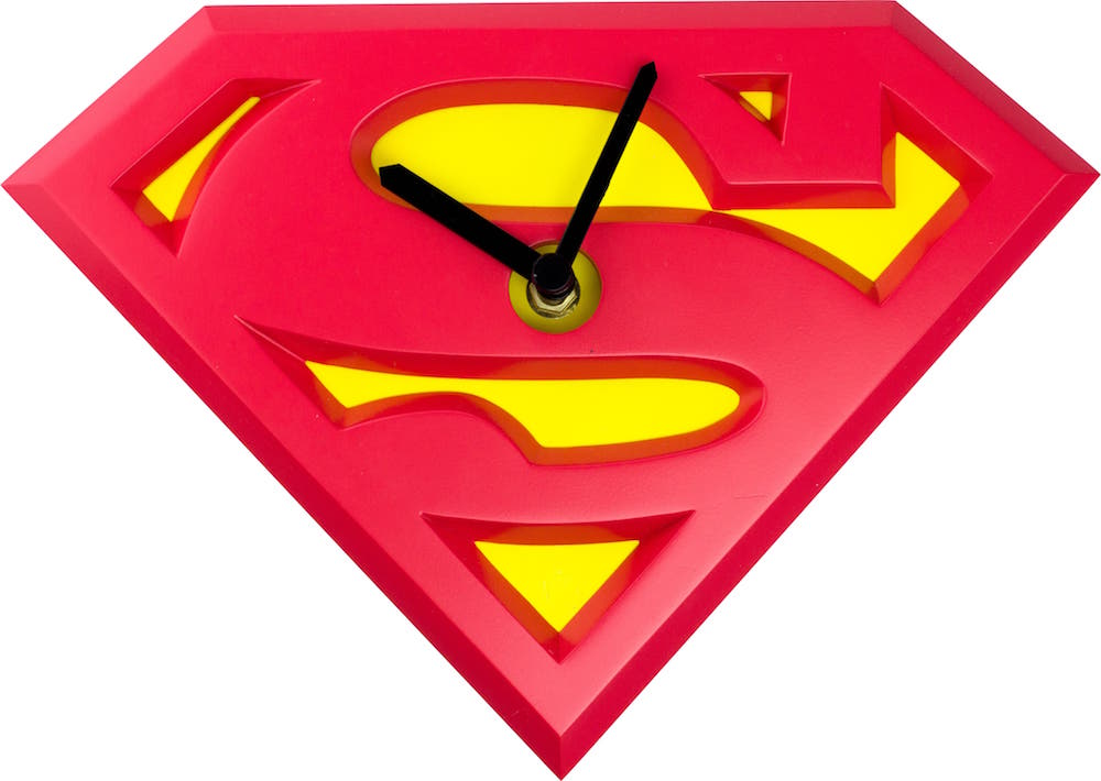 LOGO SUPERMAN RELOJ WOBBLE CLOCK UNIVERSO DC