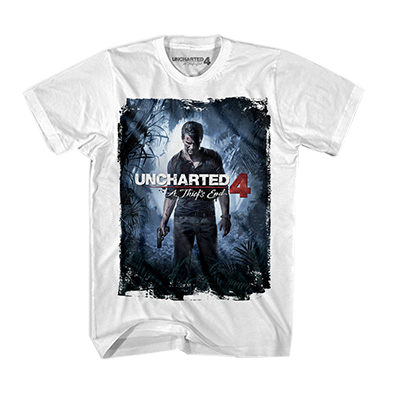 UC4 JR COVER TEE WHITE CAMISETA CHICO TALLA M UNCHARTED 4
