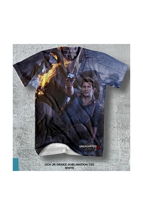 UC4 JR DRAKE SUBLIMATION TEE CAMISETA CHICO TALLA M UNCHARTED 4