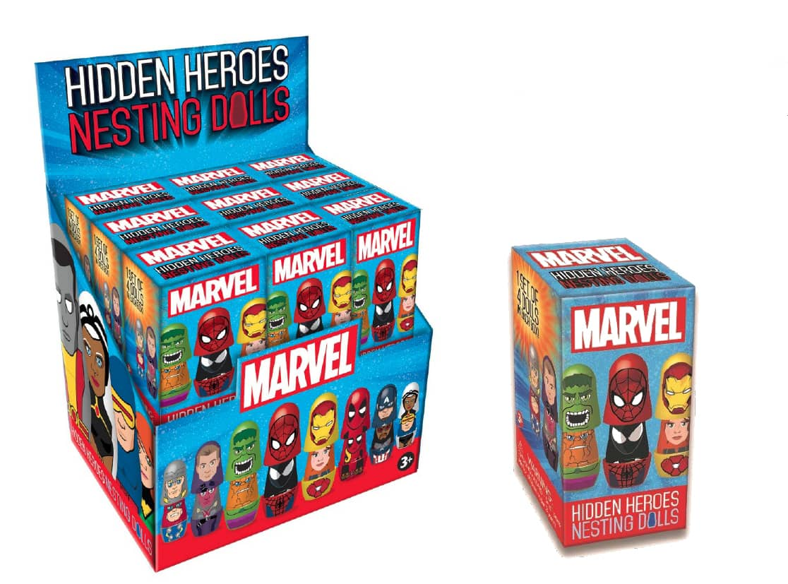 MARVEL HIDDEN HEROES DISPLAY 18 SETS MATRIOSKAS MARVEL