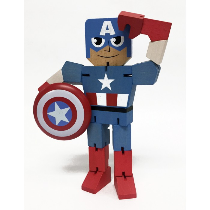 CAPITAN AMERICA FIGURA MADERA 20 CM MARVEL WOOD WARRIORS SERIE 1