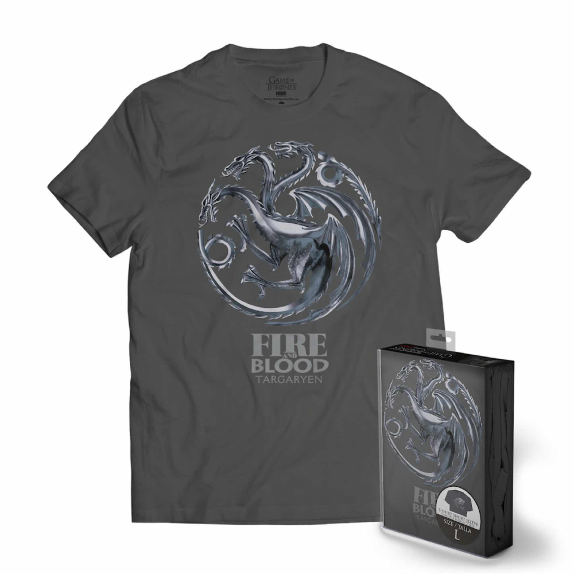 LOGO TARGARYEN ESCUDO METALICO CAMISETA GRIS CHICO T-XXL GAME OF THRONES