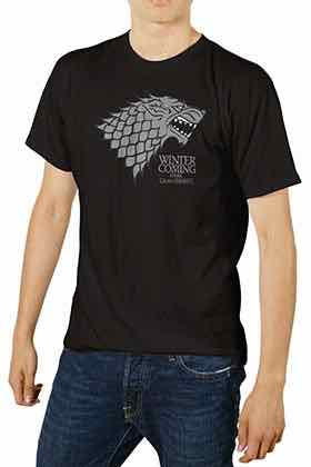 LOGO STARK CAMISETA NEGRA CHICO T-S GAME OF THRONES BOLSA