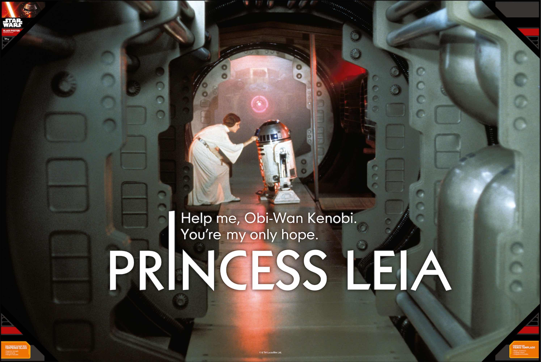 LEIA HELP ME POSTER DE VIDRIO STAR WARS 90x60 CM