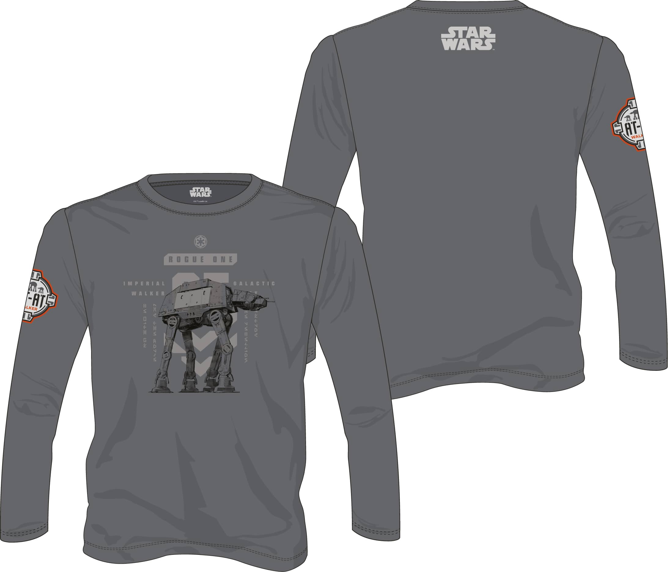 AT-AT CAMINANTE M/LARGA CAMISETA GRIS CHICO T-S STAR WARS ROGUE ONE