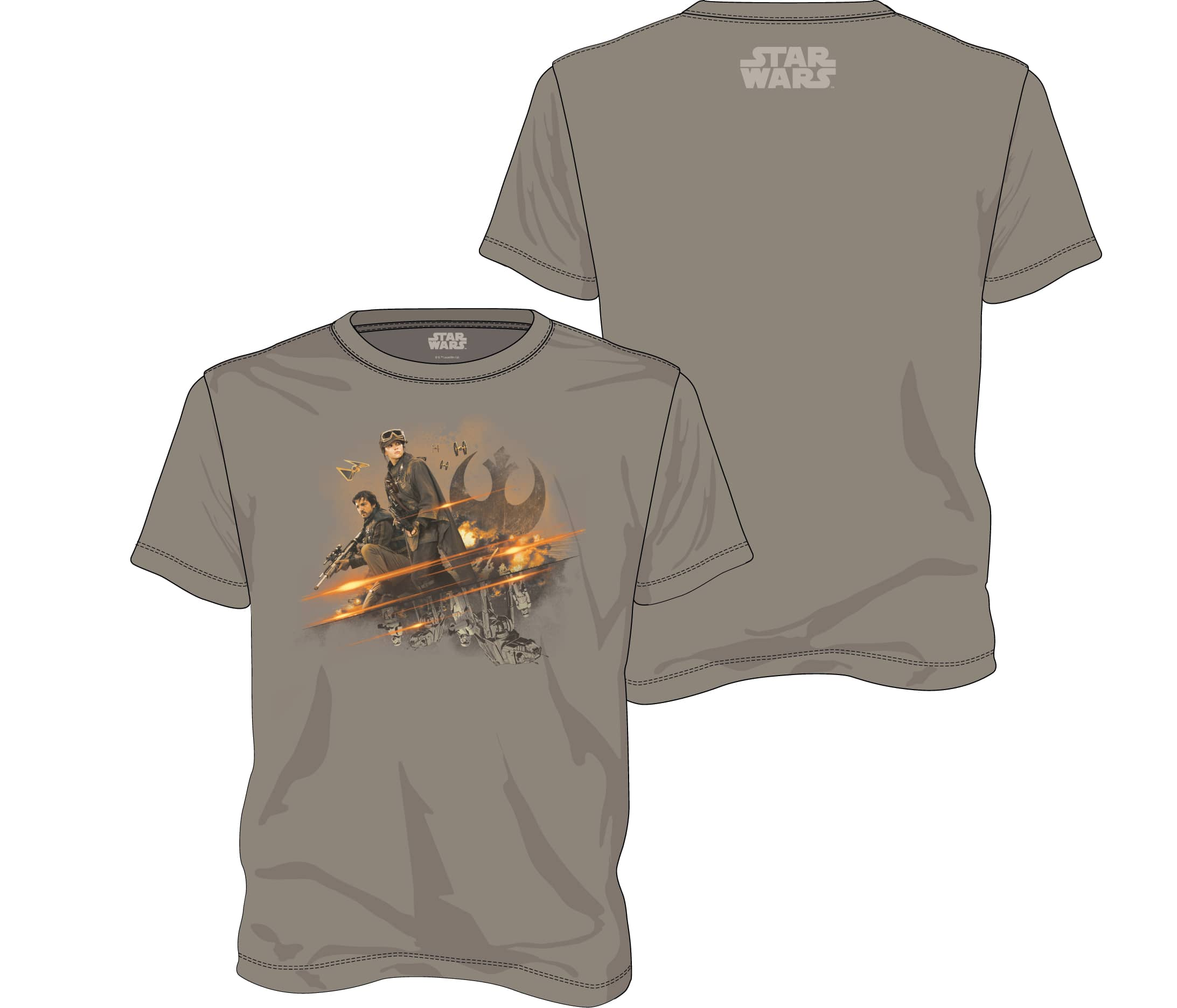 GRUPO REBELDE CAMISETA GRIS CHICO T-XXL STAR WARS ROGUE ONE