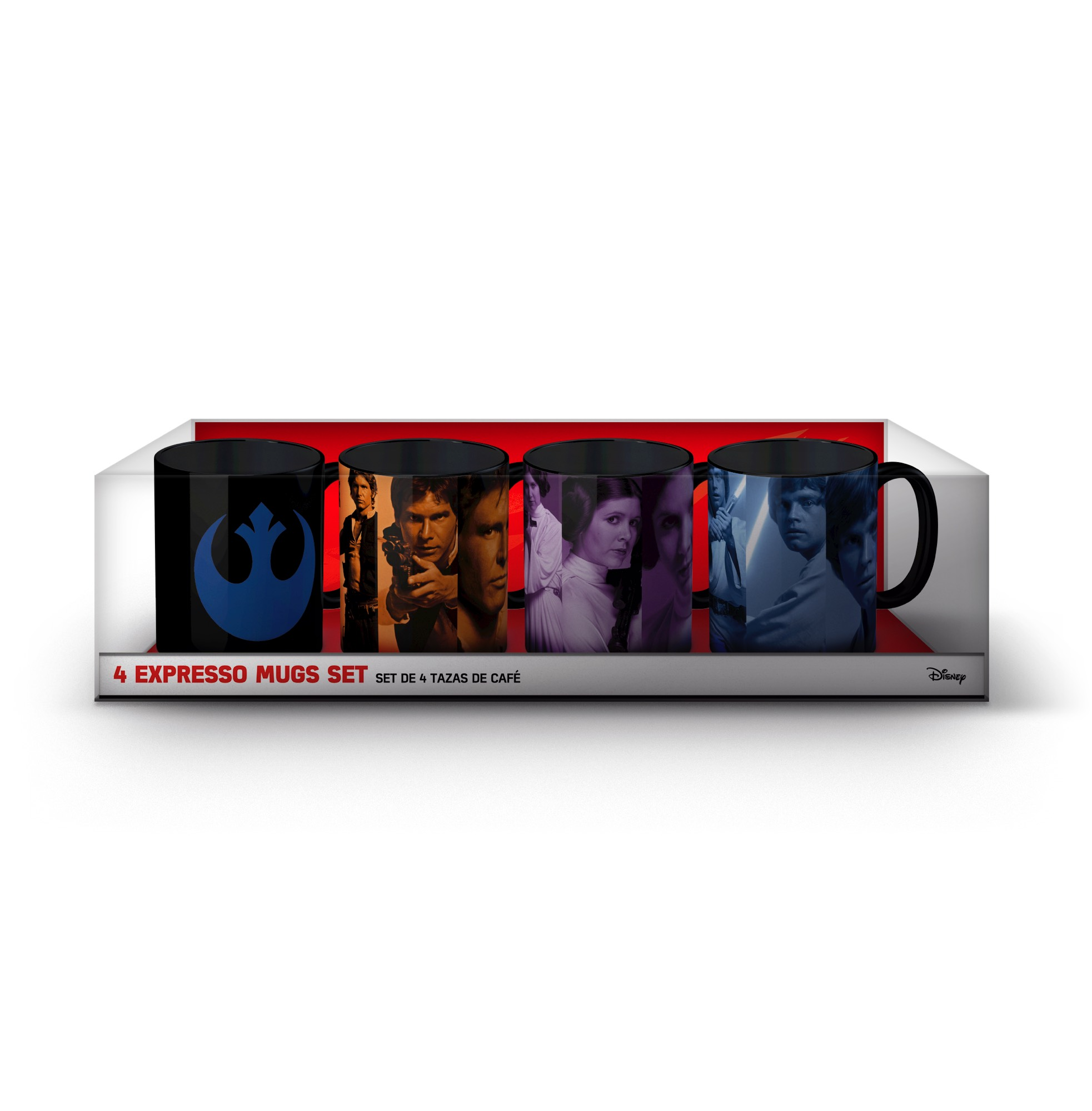 O.FLASH - SET #1 REBELDES 4 MINI TAZAS CAFE CERAMICA STAR WARS EP.VIII