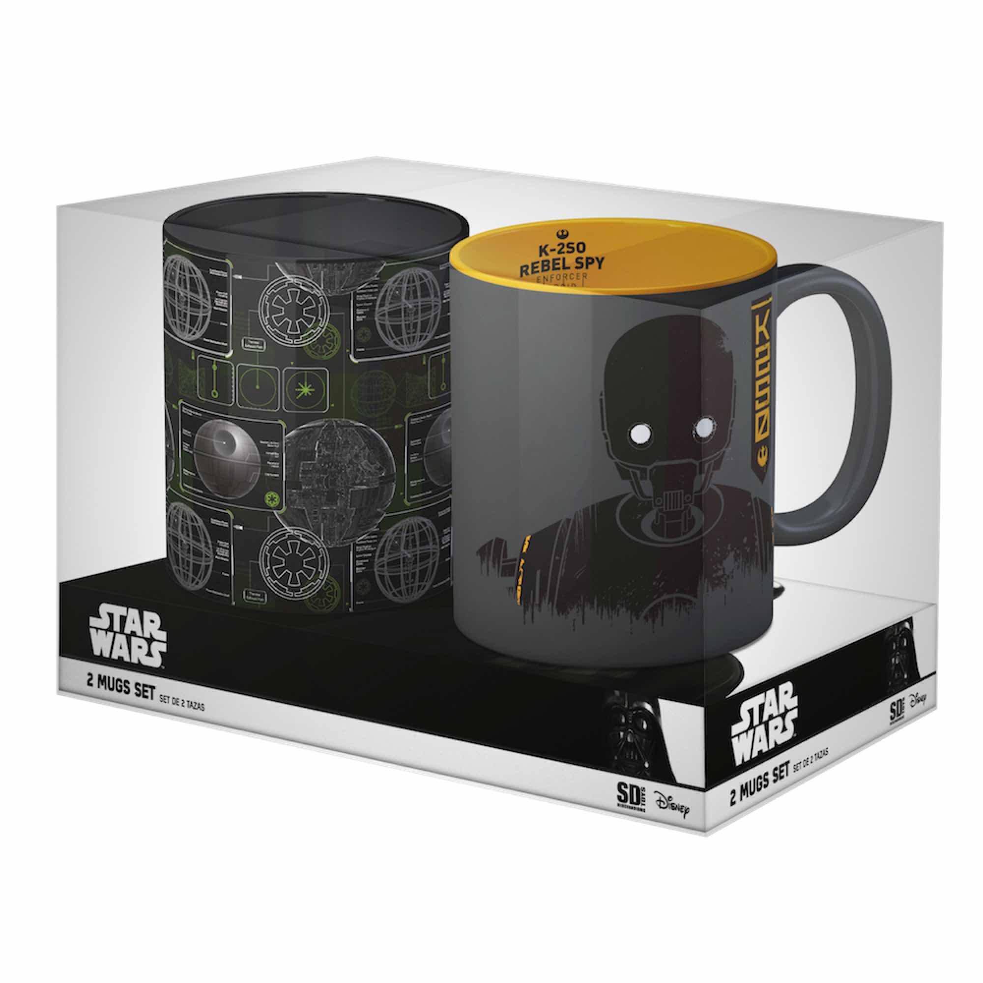 PACK OFERTA 2: DEATH STAR + K-2SO SET 2 TAZAS STAR WARS