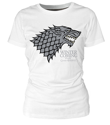 WINTER IS COMING STARK CAMISETA BLANCA CHICA T-L GAME OF THRONES