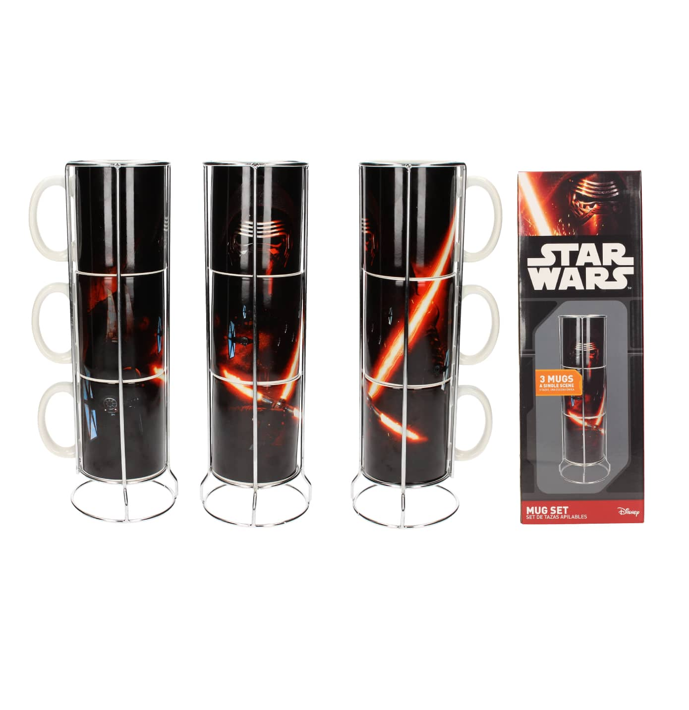 KYLO SABLE SET 3 TAZAS APILABLES CERAMICA STAR WARS EP7
