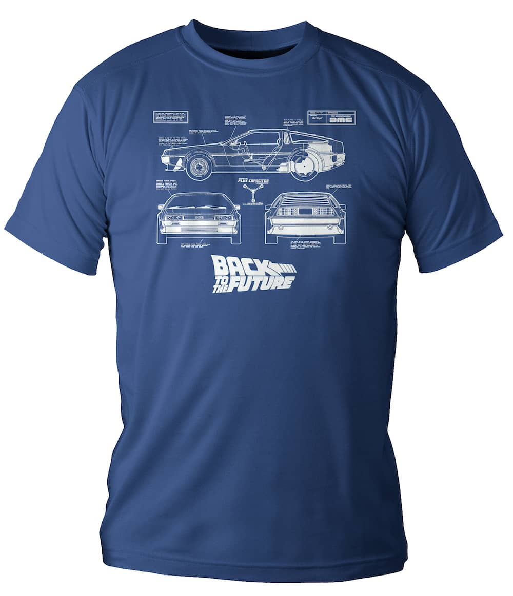 DELOREAN BLUEPRINT CAMISETA AZUL CHICO TALLA M REGRESO AL FUTURO