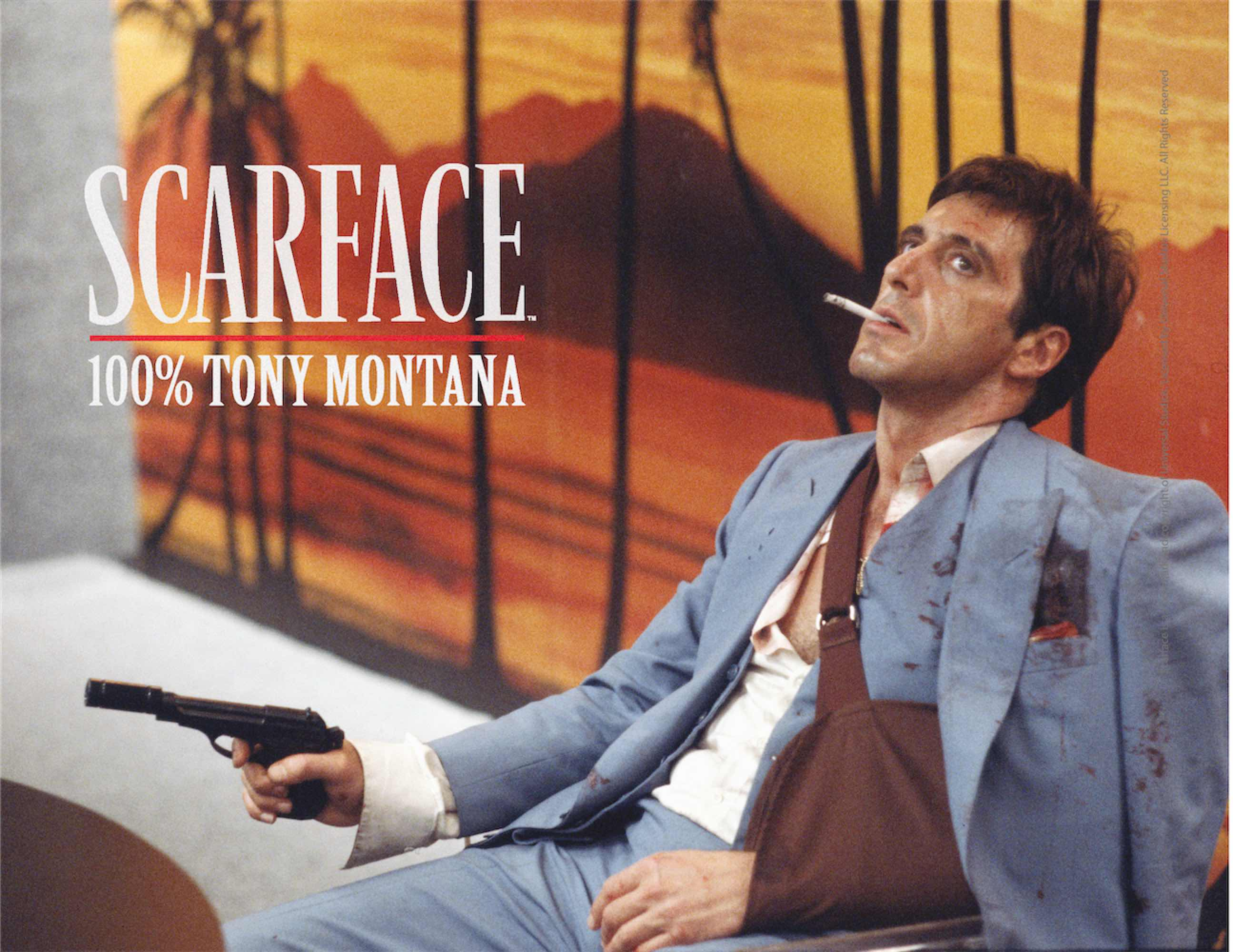 100% TONY MONTANA POSTER DE VIDRIO SCARFACE 40x30 CM
