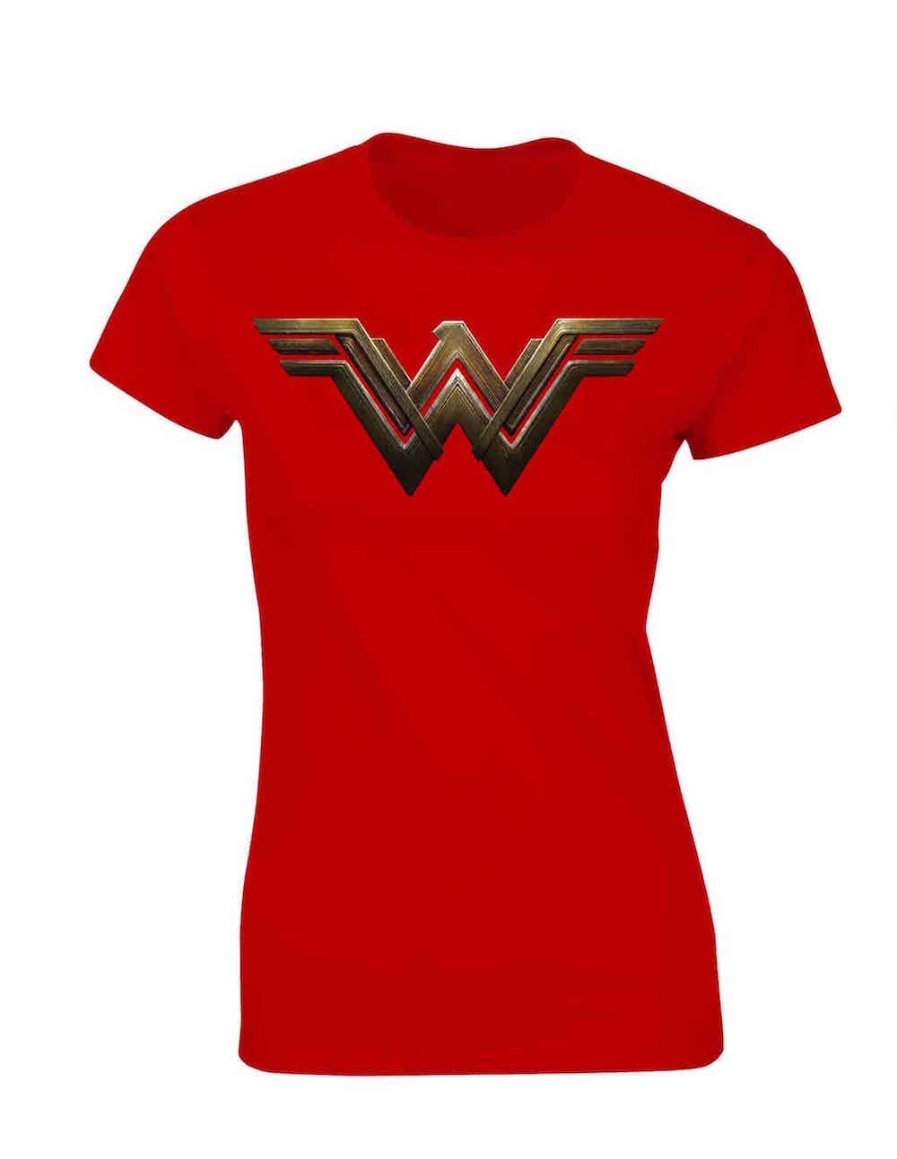 LOGO WONDER WOMAN CAMISETA ROJA CHICA T-S BATMAN VS SUPERMAN DC