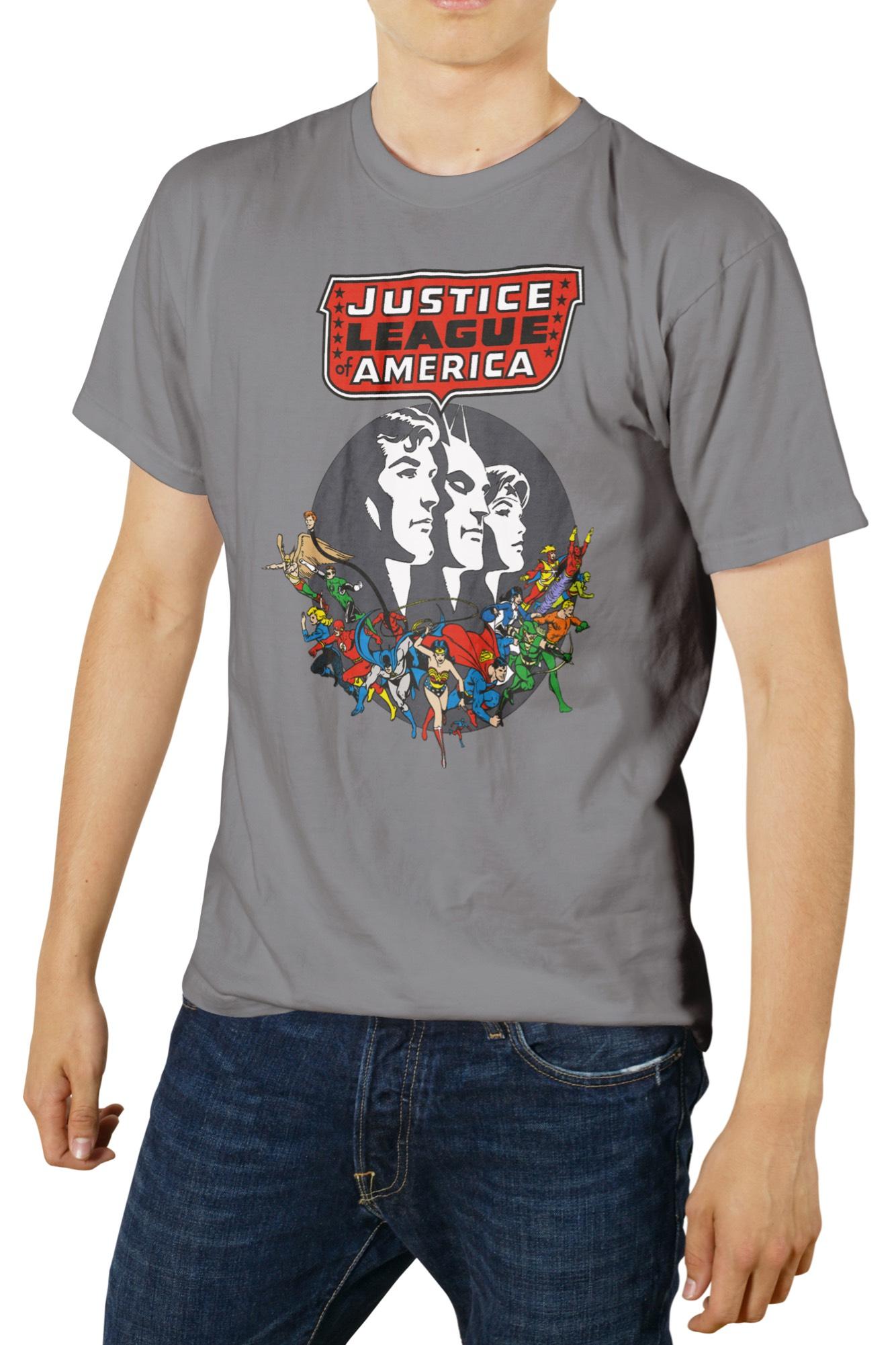 PERSONAJES JUSTICE LEAGUE OF AMERICA CAMISETA GRIS CHICO T-M DC COMICS