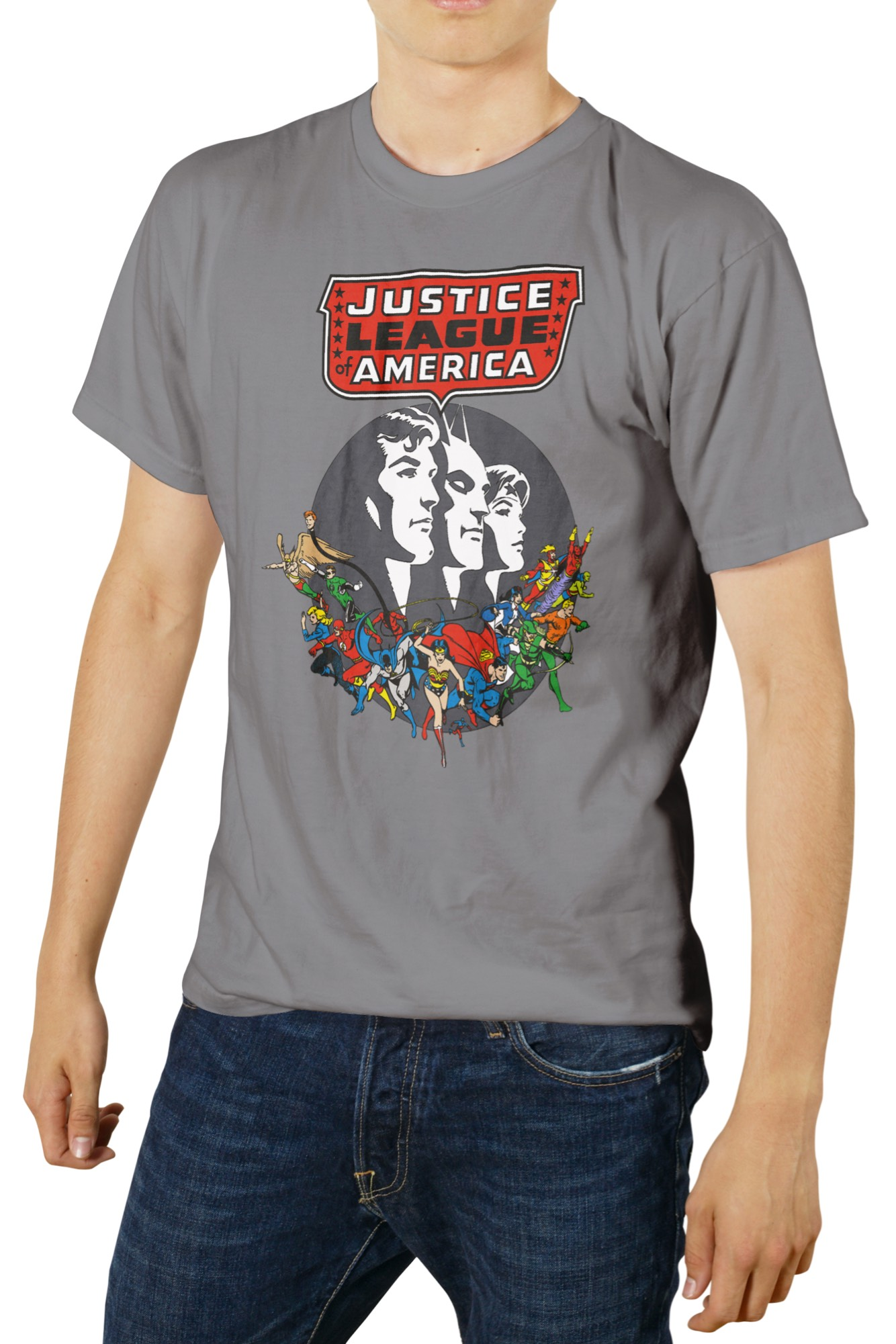 PERSONAJES JUSTICE LEAGUE OF AMERICA CAMISETA GRIS CHICO T-XXL DC COMICS