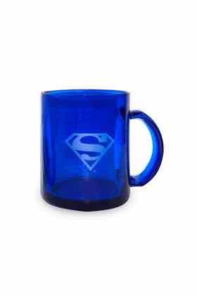 SUPERMAN LOGO TAZA CRISTAL AZUL TRANSPARENTE DC