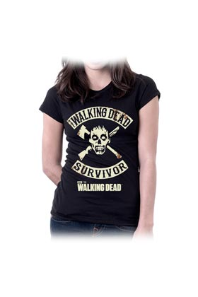 WD SURVIVOR AMC CAMISETA NEGRA CHICA TALLA S THE WALKING DEAD SERIE TV