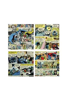 PAGINAS COMIC BATMAN SET 4 LAMINAS DE TELA 40x40 CM DC COMICS